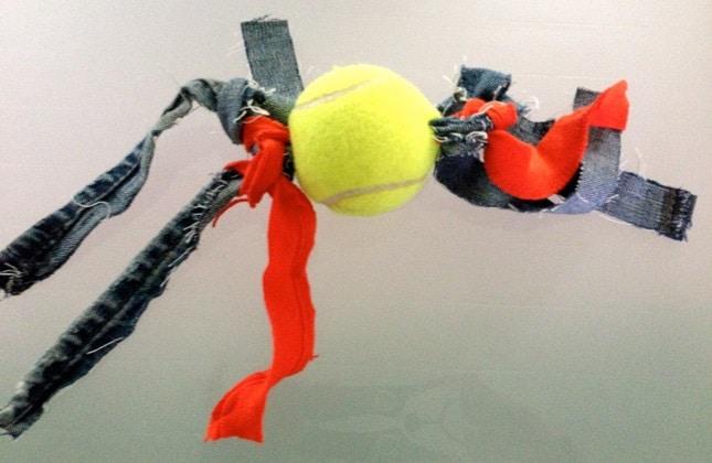 Tennis Ball and Rag DIY Dog Toy