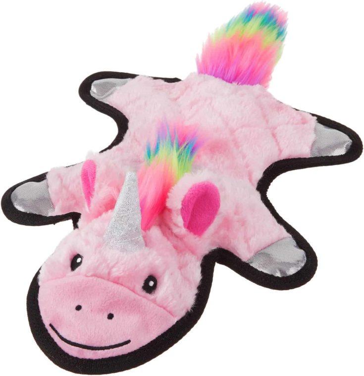 Frisco Mythical Mates Flat Plush Squeaking Unicorn Dog Toy