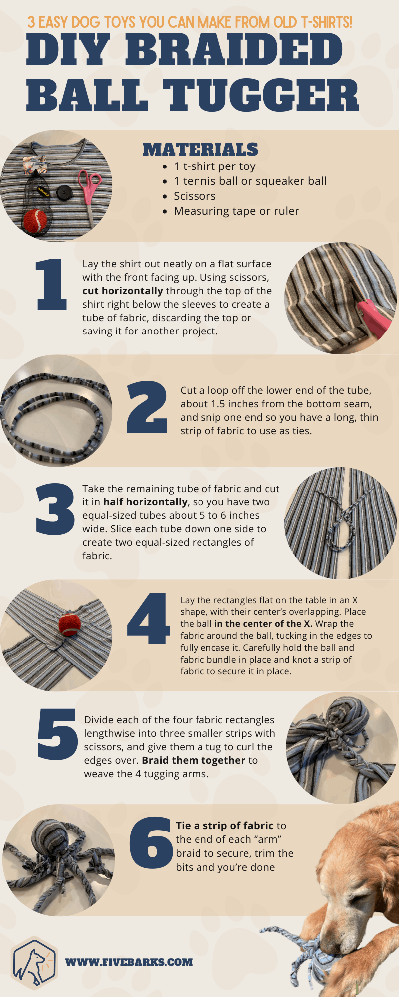 3 Easy Dog Toys You Can Make from Old T-Shirts - infographics