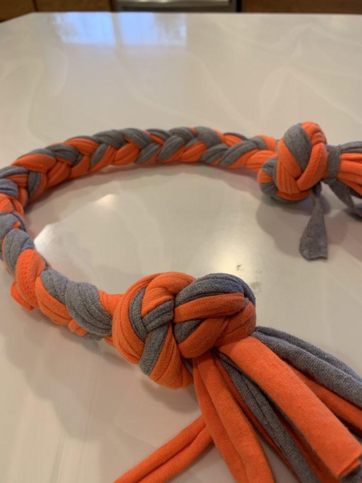 Orange and gray cloth dog toy