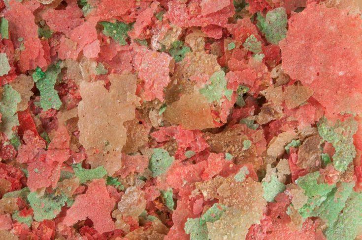 Close up or macro of fish food flakes